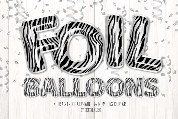 Print on Demand: Zebra Foil Balloon Alphabet Clipart Grafik Illustrationen von Digital Curio