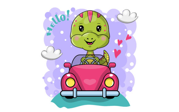 Cartoon Dino Riding a Car Graphic Illustrations By maniacvector