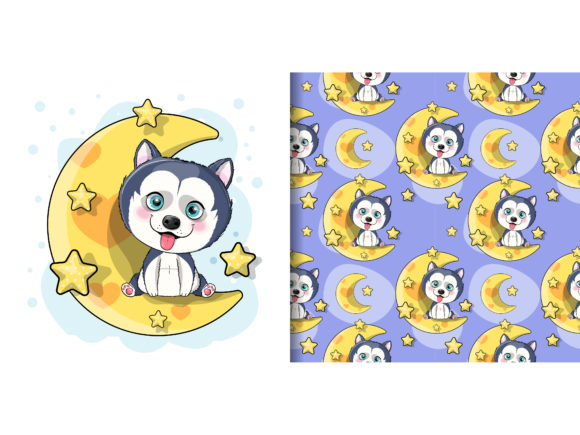 Cartoon Husky Puppy with Moon and Stars Graphic Illustrations By maniacvector