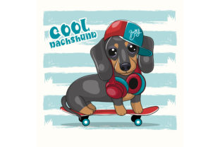 Cute Cartoon Dachshund with Skateboard Graphic Illustrations By maniacvector