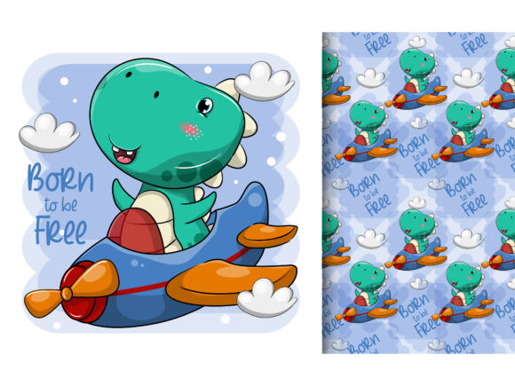 Cute Cartoon Dinosaur Flying with Plane Graphic Illustrations By maniacvector