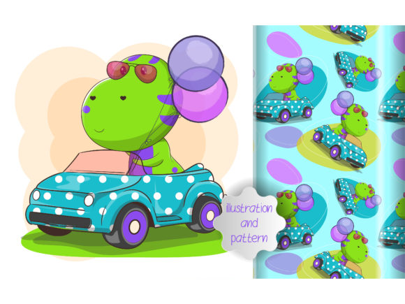 Cute Dino Ride a Car and Pattern Graphic Illustrations By maniacvector