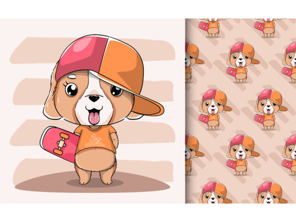 Cute Puppy with Hat and Skateboard Graphic Illustrations By maniacvector