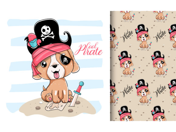 Cute Puppy with Pirate Custom Graphic Illustrations By maniacvector