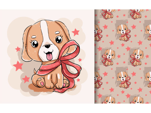 Cute Puppy with Red Ribbon Graphic Illustrations By maniacvector