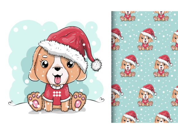 Cute Puppy with Santa Hat Graphic Illustrations By maniacvector