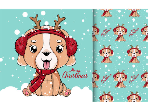 Cute Puppy with Snow Graphic Illustrations By maniacvector