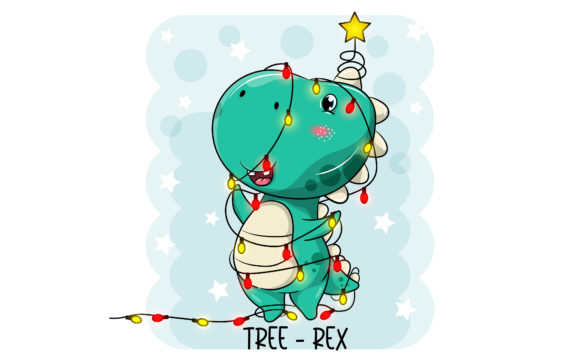 Dinosaur Turned into a Christmas Tree Graphic Illustrations By maniacvector