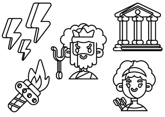 Greek Mythology Black Graphic Icons By ssiimpti73