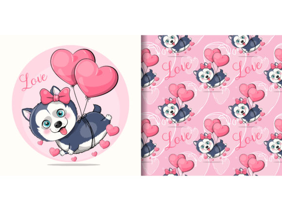Husky Puppy Flying with Heart Balloons Graphic Illustrations By maniacvector