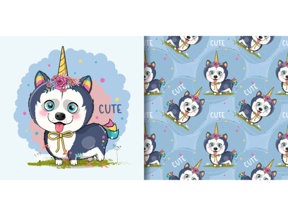 Husky Puppy with Unicorn Custom Graphic Illustrations By maniacvector