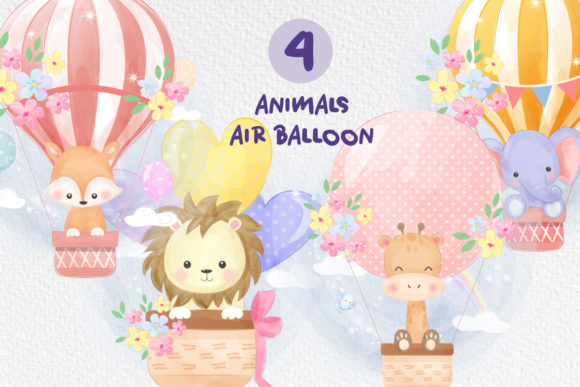 Animals and Air Balloon Clipart Set Graphic Illustrations By DrawStudio1988
