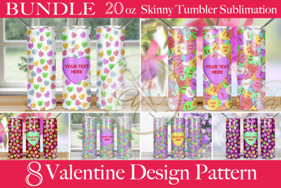 BUNDLE Hearts Skinny Tumbler Sublimation Graphic Print Templates By paperart.bymc