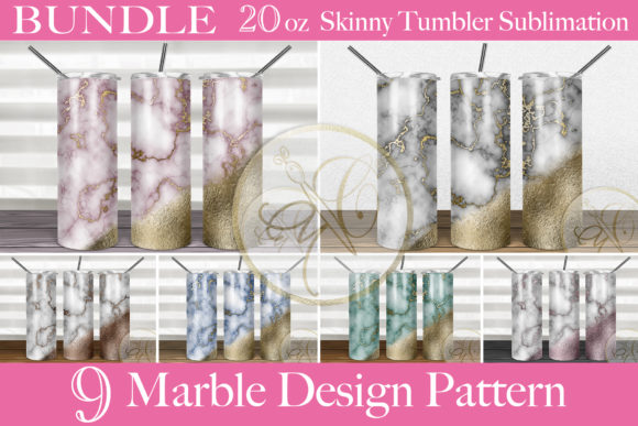 BUNDLE Marble Skinny Tumbler Sublimation Graphic Print Templates By paperart.bymc