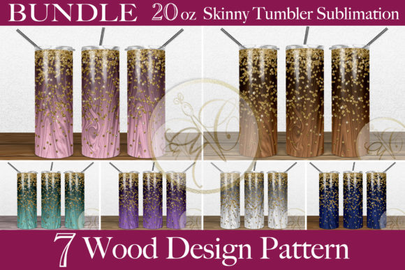 BUNDLE Wood Skinny Tumbler Sublimation Graphic Print Templates By paperart.bymc