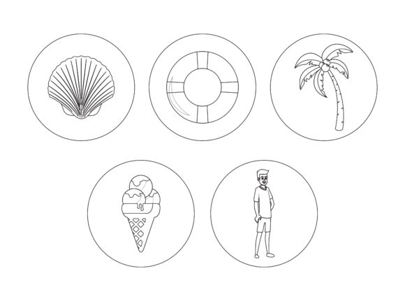 Beach Clam Outline Icon Bundle Graphic Illustrations By printablesplazza