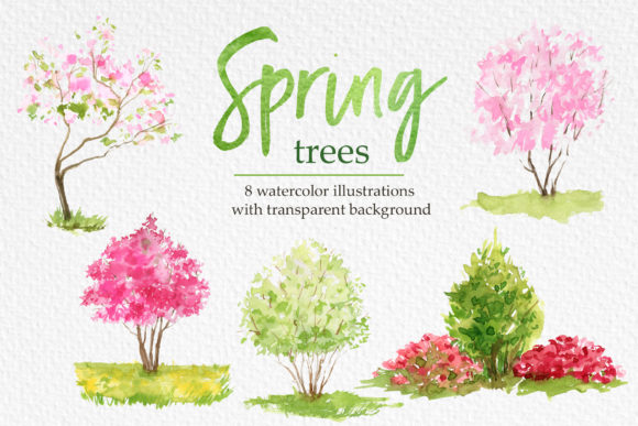 Blossom Tree Spring Clipart Graphic Illustrations By lena-dorosh