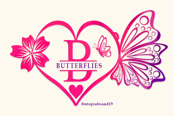 Print on Demand: Butterflies Monogram Decorative Font By utopiabrand19