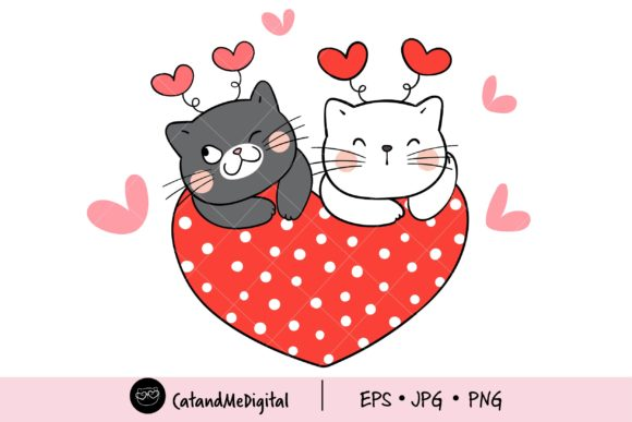 Cat Valentine with Heart. Graphic Illustrations By CatAndMe