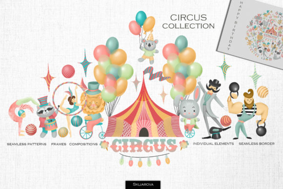 Circus Collection Graphic Illustrations By HappyWatercolorShop