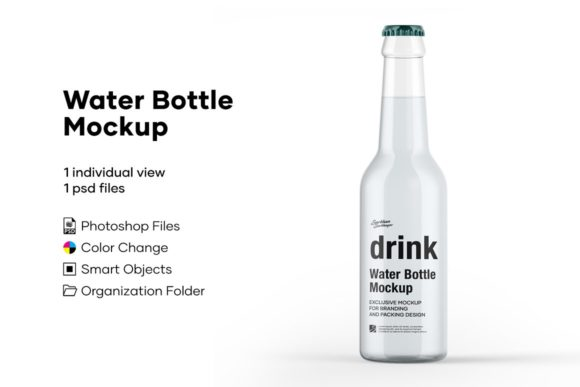Clear Glass Water Bottle Mockup Graphic Product Mockups By greenart