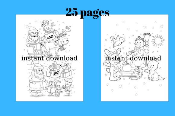 Print on Demand: Coloring Pages for Winter, 25 Pages #4 Graphic Coloring Pages & Books By Davina Gray