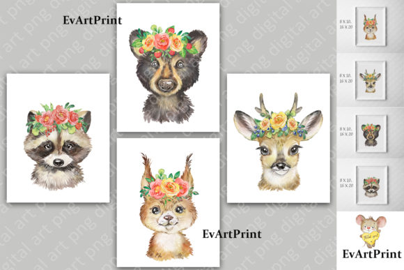 Cute Forest Animals Watercolor Clipart. Graphic Add-ons By EvArtPrint