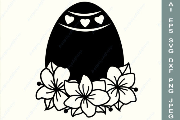 Easter Egg with Spring Flowers Svg Graphic Crafts By AnastasiyaArtDesign
