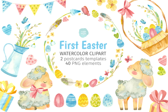 Print on Demand: Easter Lamb Watercolor Clipart Graphic Illustrations By ValinMalin