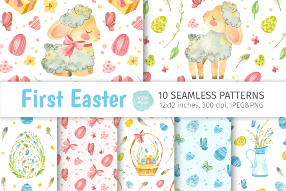 Print on Demand: Easter Sheep - Watercolor Patterns Graphic Patterns By ValinMalin
