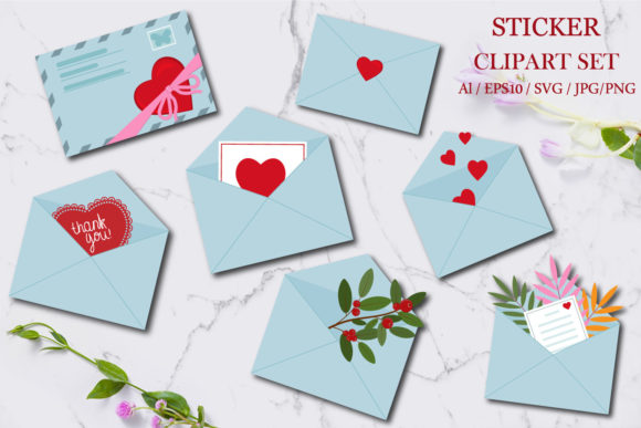 Print on Demand: Envelope Stickers and Clipart Graphic Crafts By lesinka