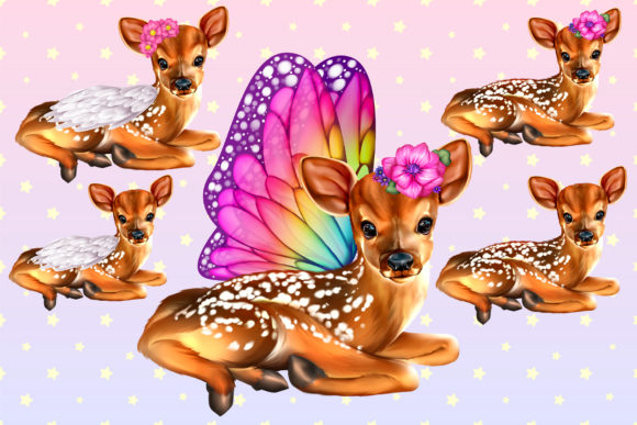 Print on Demand: Fairy Deer 5 PNG Graphic Illustrations By ladymishka