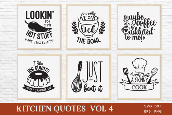 Funny Kitchen Quotes Svg Bundle Vol 4 Gráfico Crafts Por peachycottoncandy