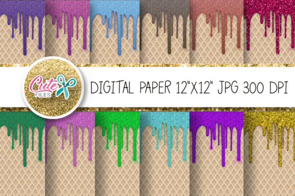 Glitter Drip Digital Paper Graphic Textures By Cute files