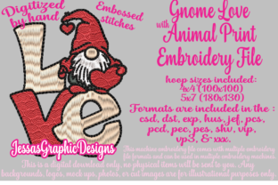 Print on Demand: Gnome Love Valentine's Day Embroidery Design By JessasGraphicDesgins