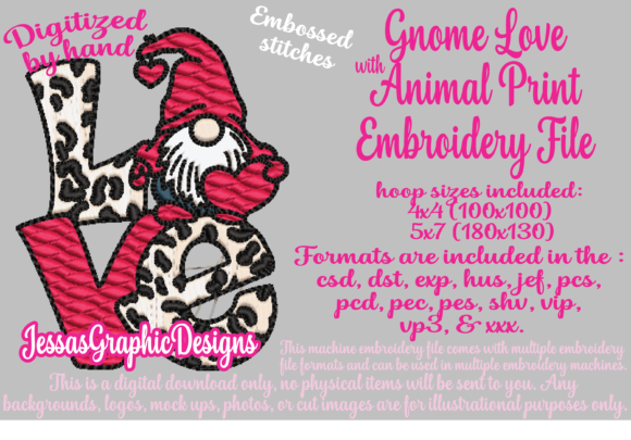 Print on Demand: Gnome Love with Animal Print Valentinstag Stickdesign von JessasGraphicDesgins
