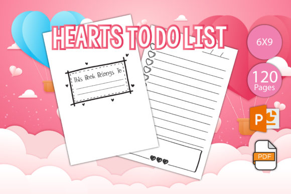 Print on Demand: Hearts to Do List Notebook for KDP Graphic KDP Interiors By IsaraDesign