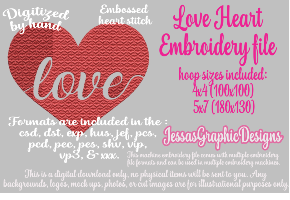 Print on Demand: Love Heart Valentine's Day Embroidery Design By JessasGraphicDesgins