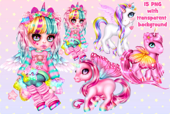 Print on Demand: Magical Unicorns and Cute Girl in Anime Gráfico Ilustraciones Por ladymishka