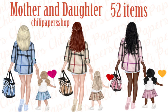 Mother and Daughter Clipart,Mothers Day Gráfico Ilustraciones Por ChiliPapers