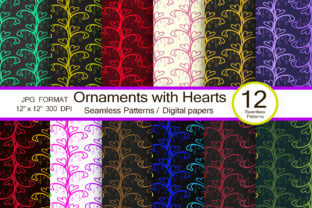 Ornaments with Hearts, Scrapbook Paper Graphic Patterns By FolkStyleStudio