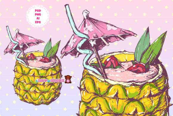 Print on Demand: Pineapple Cocktail AI/EPS/PNG/PSD Graphic Illustrations By ladymishka