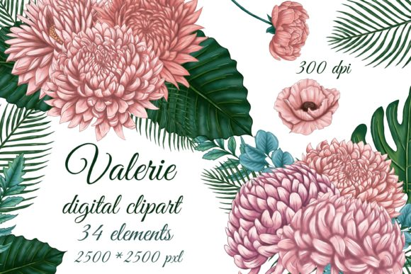 Pink Flowers Clipart Graphic Objects By sidelnikova.yy