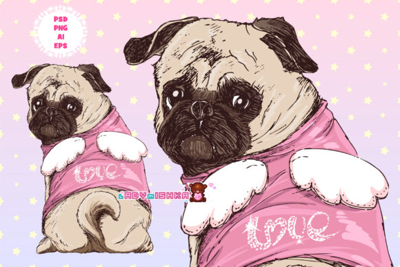 Print on Demand: Pug Puppy AI/EPS/PNG/PSD Graphic Illustrations By ladymishka