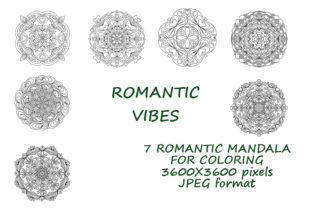 Print on Demand: ROMANTIC VIBES, MANDALAS with Hearts for Graphic Coloring Pages & Books By Galarta