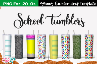 School 20 Oz. Skinny Tumbler Wrap Graphic Print Templates By Cute files