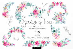 Spring is Here - Floral Bouquets Set Graphic Illustrations By HappyWatercolorShop