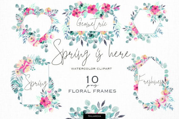 Spring is Here. Floral Frames Set. Graphic Illustrations By HappyWatercolorShop