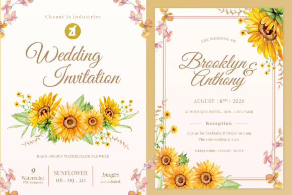 Sunlight Flower Wedding Invitation Graphic Print Templates By Chanut is watercolor