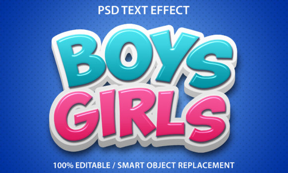 Text Effect Boys and Girls Premium Graphic Graphic Templates By yosiduck